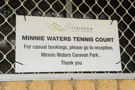 Council have put a new sign up on the Minnie Water Tennis Club House after the locks were changed.