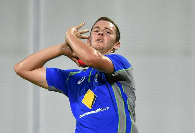 Australian fast bowler Josh Hazlewood during a practice session in the nets. Hazlewood played his first representative cricket at the Lismore Under-12 carnival.