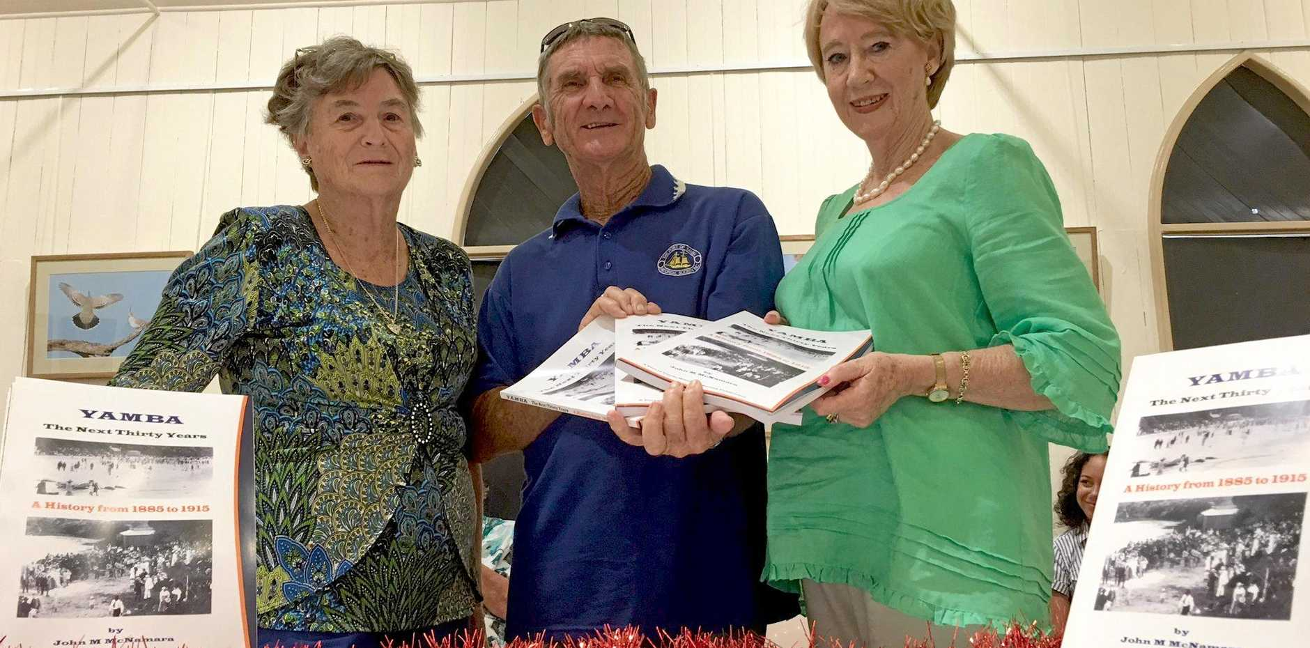 The Cox sisters of Grafton, Lorraine (left) and Patricia with author of of the book 'Yamba - The Next Thirty Years, John McNamara at the launch of the book at Yamba Museum.