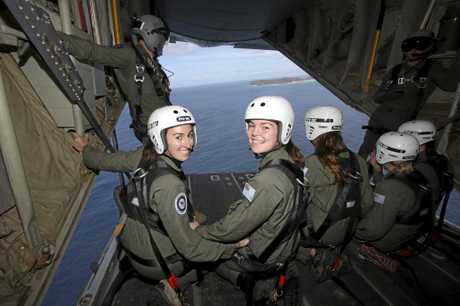 Female Flight Camp participants Isabella and Siobhan on a No. 37 Squadron C130 Hercules during their visit to RAAF Base Amberley.