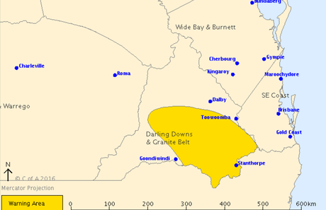 A storm warning has been issued for Warwick and Stanthorpe.