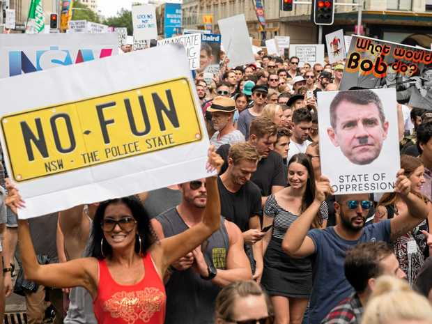 Thousands of demonstrators gathered in Sydney's CBD in February for the Keep Sydney Open rally to protest against the New South Wales Government's lockout laws in the inner city .