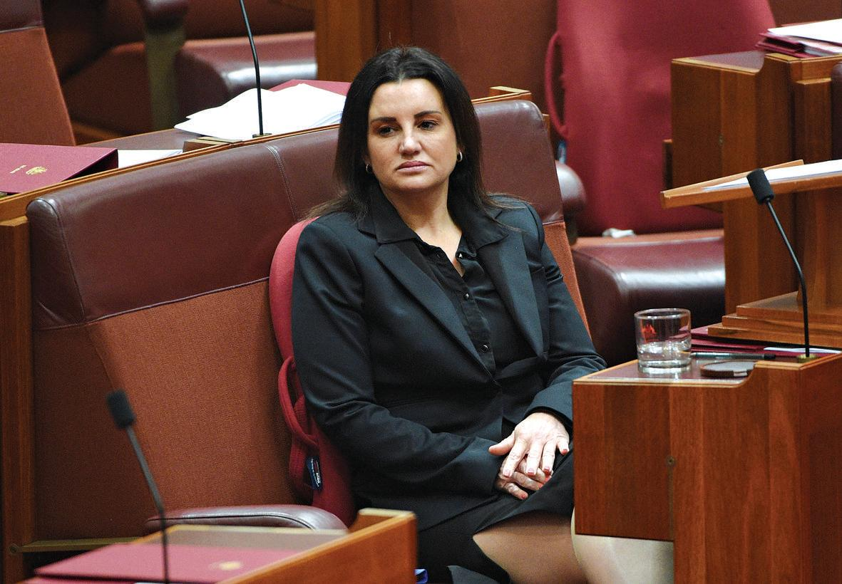 Tasmanian Senator Jacqui Lambie after One Nation Senator Malcolm Roberts makes his maiden speech in the Senate at Parliament House in Canberra, Tuesday, Sept. 13, 2016. (AAP Image/Mick Tsikas) NO ARCHIVING