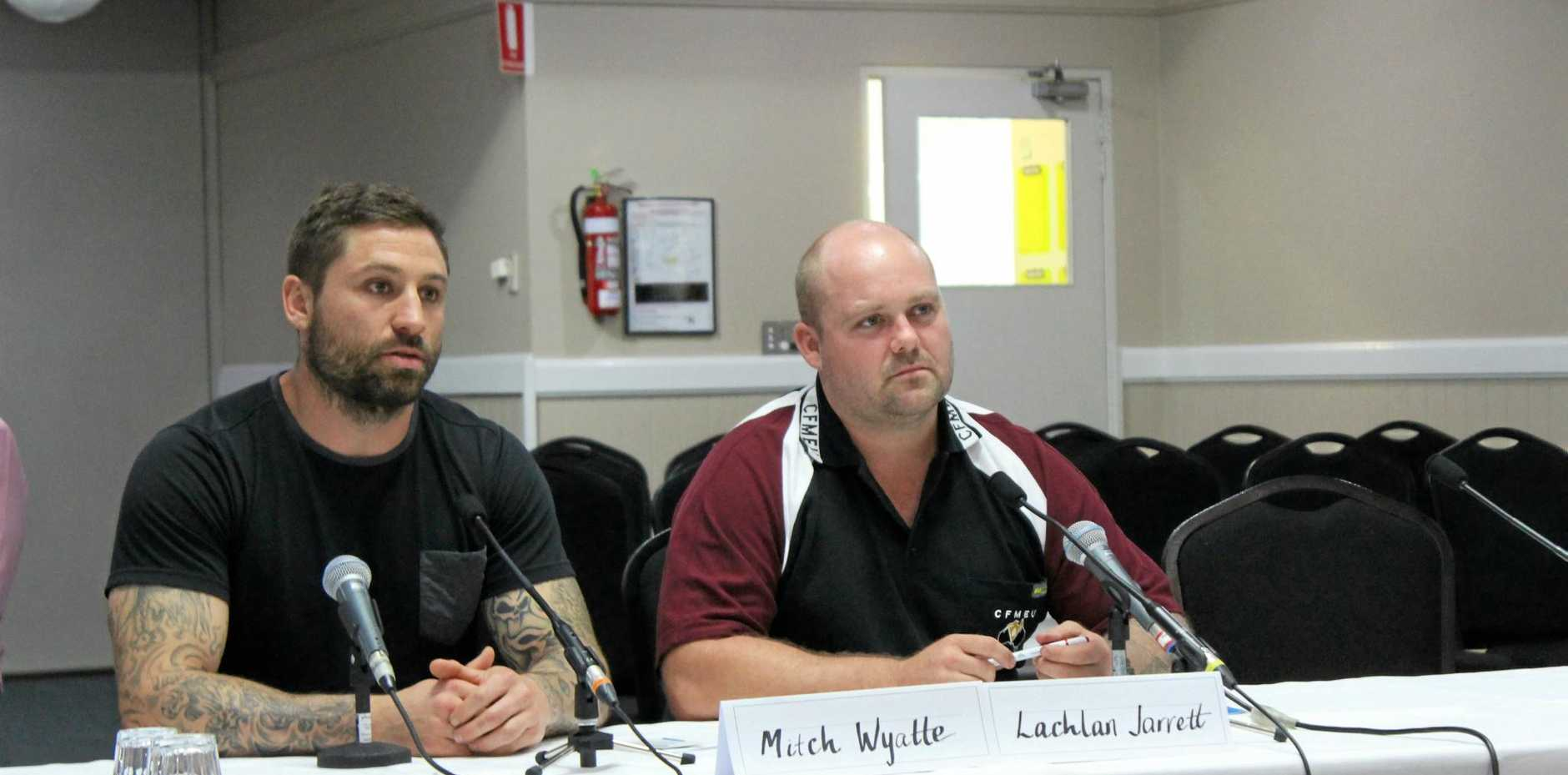 BLACK LUNG INQUIRY: Miners Mitch Wyatte and Lachlan Jarrett providing evidence at a hearing in Emerald on Thursday night.
