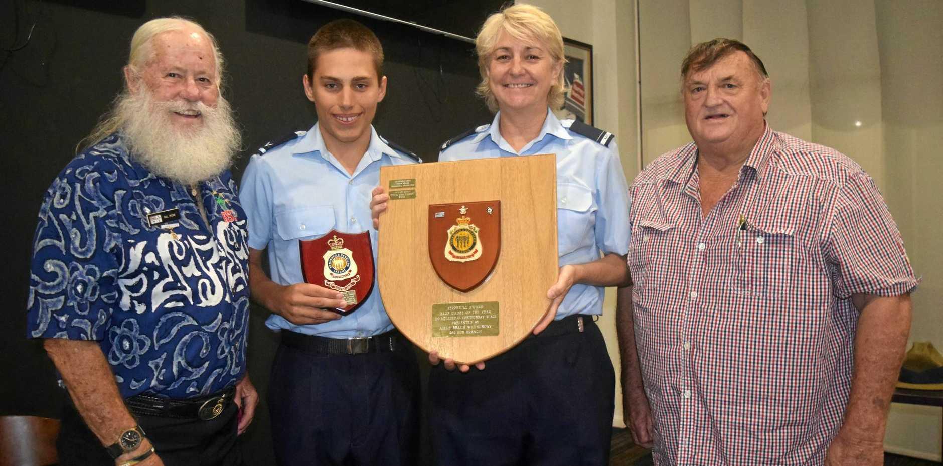 STANDOUT: Whitsunday/Airlie Beach RSL's Bill Rose and Chris Bull (right) with award winner Chris Von Eitzen and AAFC Pilot Officer Michelle Brayford.