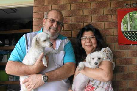 David Francis said Zeny Rochester saved his life when she called Douglas Marks to check on him after a coughing attacked caused him to collapse and knock his head on a coffee table at his home in Bonalbo on 11 December, 2016.Mr Francis holds his dog Bella while Ms Rochester holds TJ.