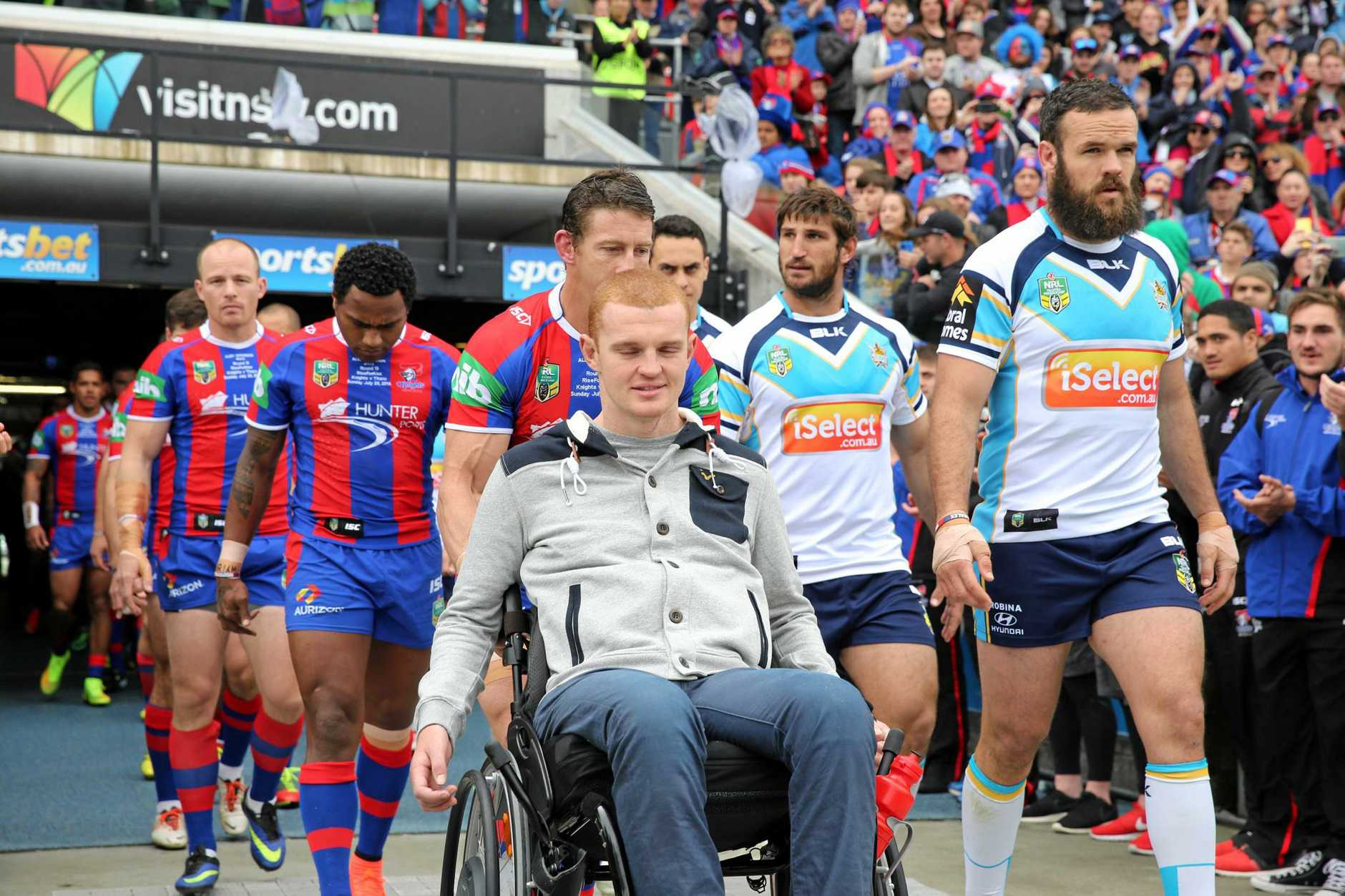 LEGAL BATTLE: Former Newcastle Knights player Alex McKinnon is suing the NRL after a tackle left him paralysed in 2014.