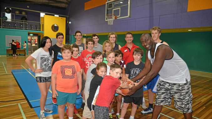 BALLERS: Former Brisbane Bullets star Andre Moore at WIRAC for a coaching clinic yesterday.