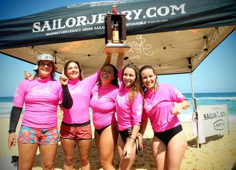 The victorious D'Bah Women Boardriders team winning back-to-back titles at the 2016 Sailor Jerry Surftag Teams event.