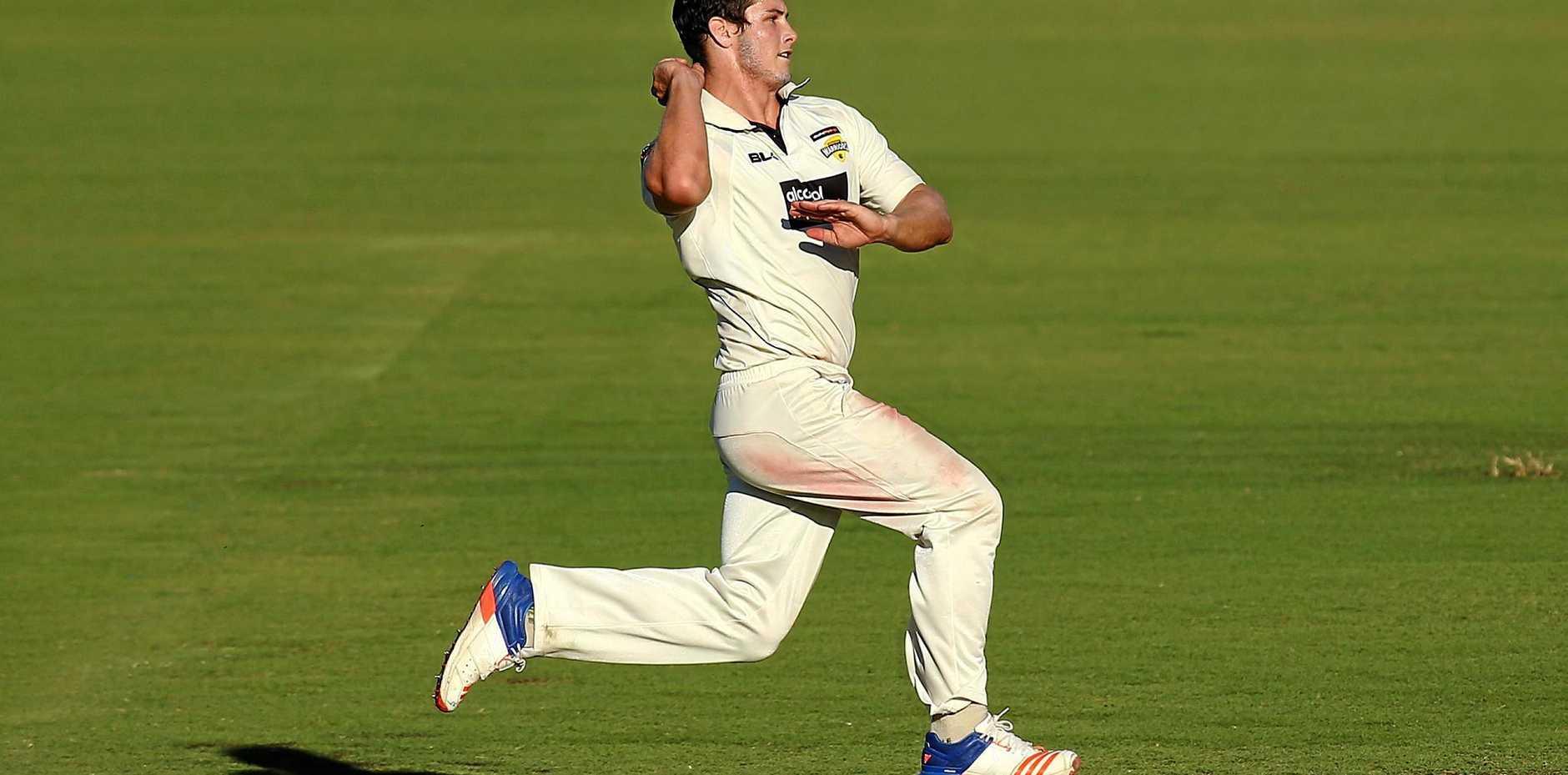 Hilton Cartwright bowls for Western Australia against Tasmania at the WACA in November.