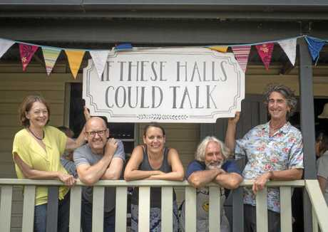 Attending the If These Halls Could Talk session at Eatonsville Hall on Saturday, Image 1 | (L-R) Grafton Regional Gallery Director, Jude McBean; Arts Northern Rivers CEO, Peter Wood; Visual Artist Frances Belle Parker; Eatonsville resident Dinesh Wilkes and Hall coordinator Marty Williams.