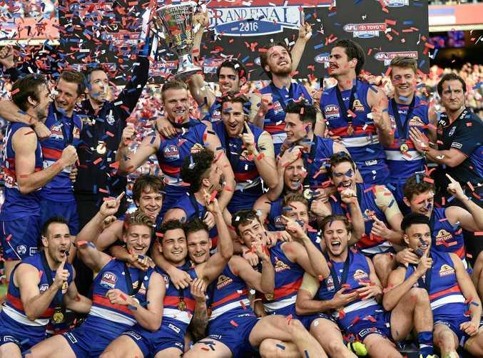 Bulldogs celebrate their 2016 AFL grand final win.