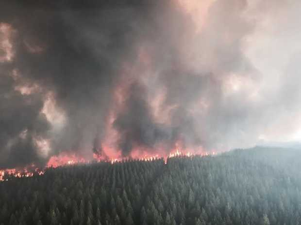 A fire is burning near Whiporie and has closed the Summerland Way.