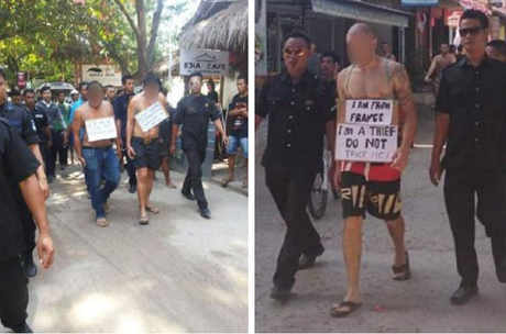 (LEFT)Two men, believed to be Indonesian, on the walk. (RIGHT) A tourist is paraded on the island with a sign reading: 'I am from France. I am a thief. Do not trust me!' Picture: Facebook/Gili Trawangan, Meno, Air