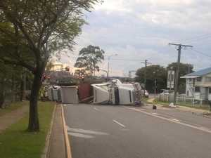 WATCH: Truck rollover carnage shuts down Gladstone road