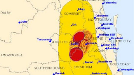 The BOM says two large storm cells have collided and are now bearing down upon Brisbane's northern suburbs.