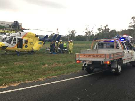 A woman was airlifted after a crash on the Burnett Hwy this afternoon