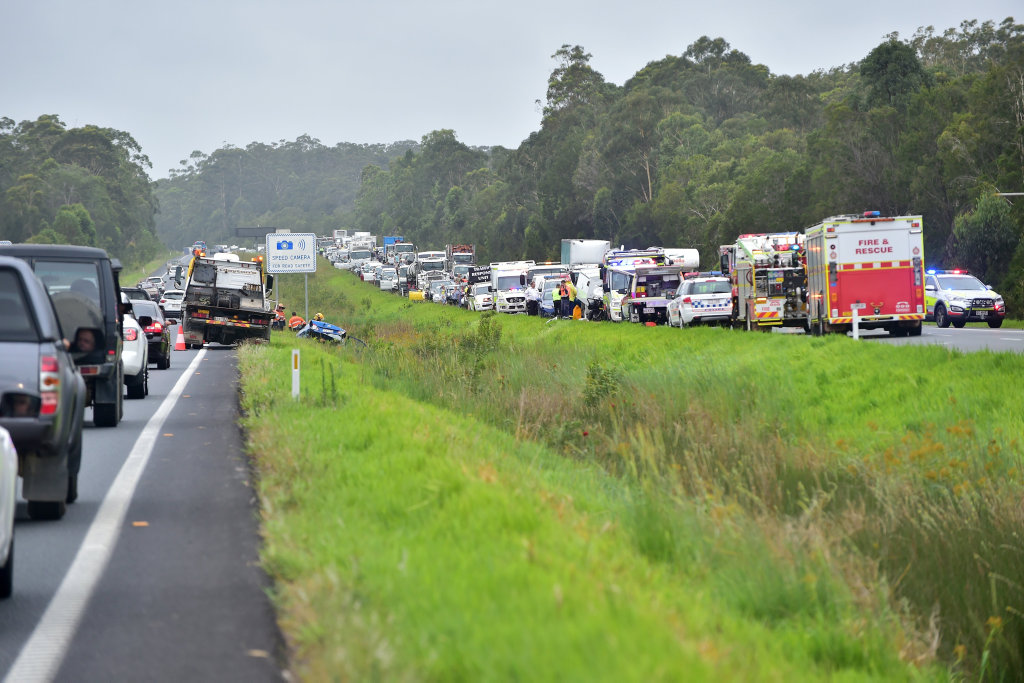 ROAD CHAOS: Traffic is brought to a standstill after a multiple-vehicle crash on the Bruce Hwy.