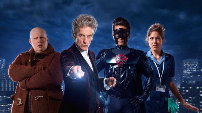 Matt Lucas, Peter Capaldi, Justin Chatwin and Charity Wakefield star in the Doctor Who TV Christmas special The Return of Doctor Mysterio.