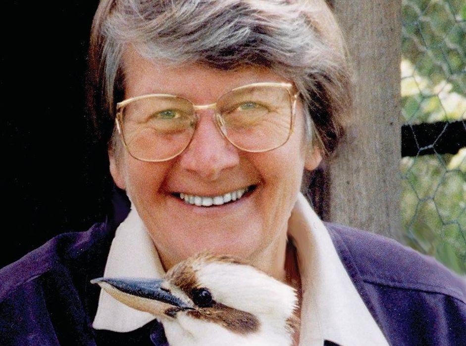 Professor Gisela Kaplan with a kookaburra.