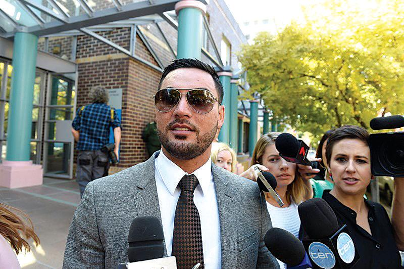 Suspended Auburn Deputy Mayor Salim Mehajer leaves Burwood Local Court in Sydney after being cleared of charges of intimidation after allegedly threatening Bruce Herat, the father of Lindt Cafe siege victim Joel Herat.