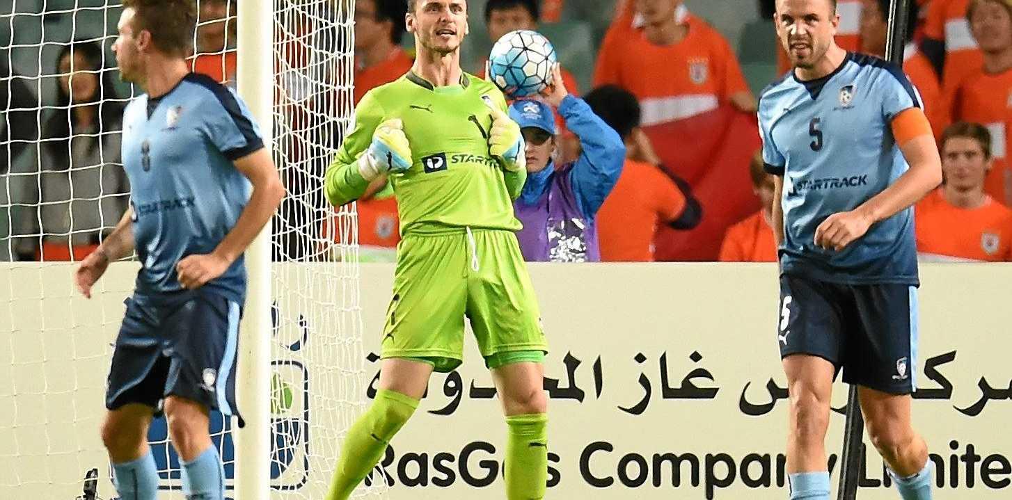New Western Sydney signing Vedran Janjetovic after making a save for Sydney FC.