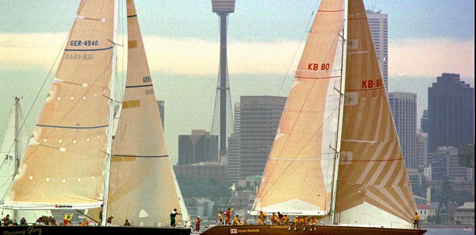 German boat Morning Glory (left) and Australian boat Condor jockey for position in 1996.