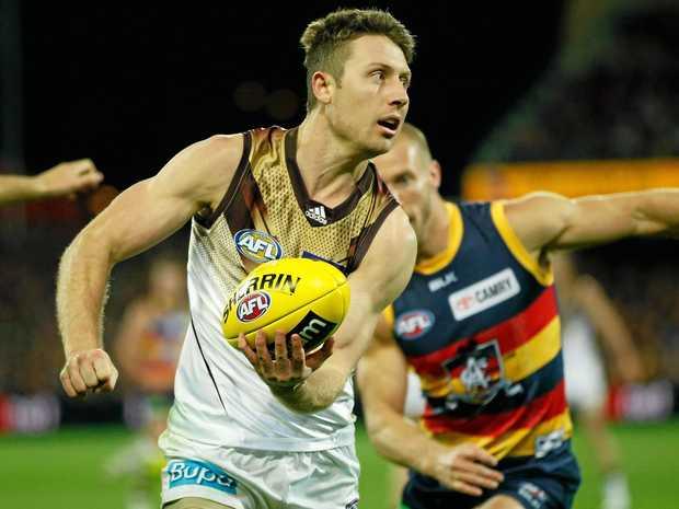 Liam Shiels of the Hawks gets a handball away.