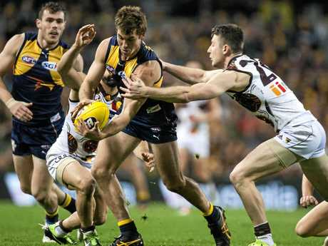 Liam Shiels of Hawthorn (right) tries to tackle West Coast's Jamie Cripps.