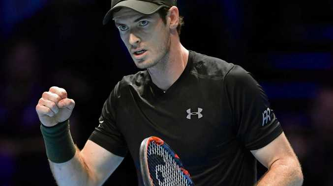 World No.1 Andy Murray pumps his fist after winning a point over Novak Djokovic at the ATP World Tour Finals in London in November.