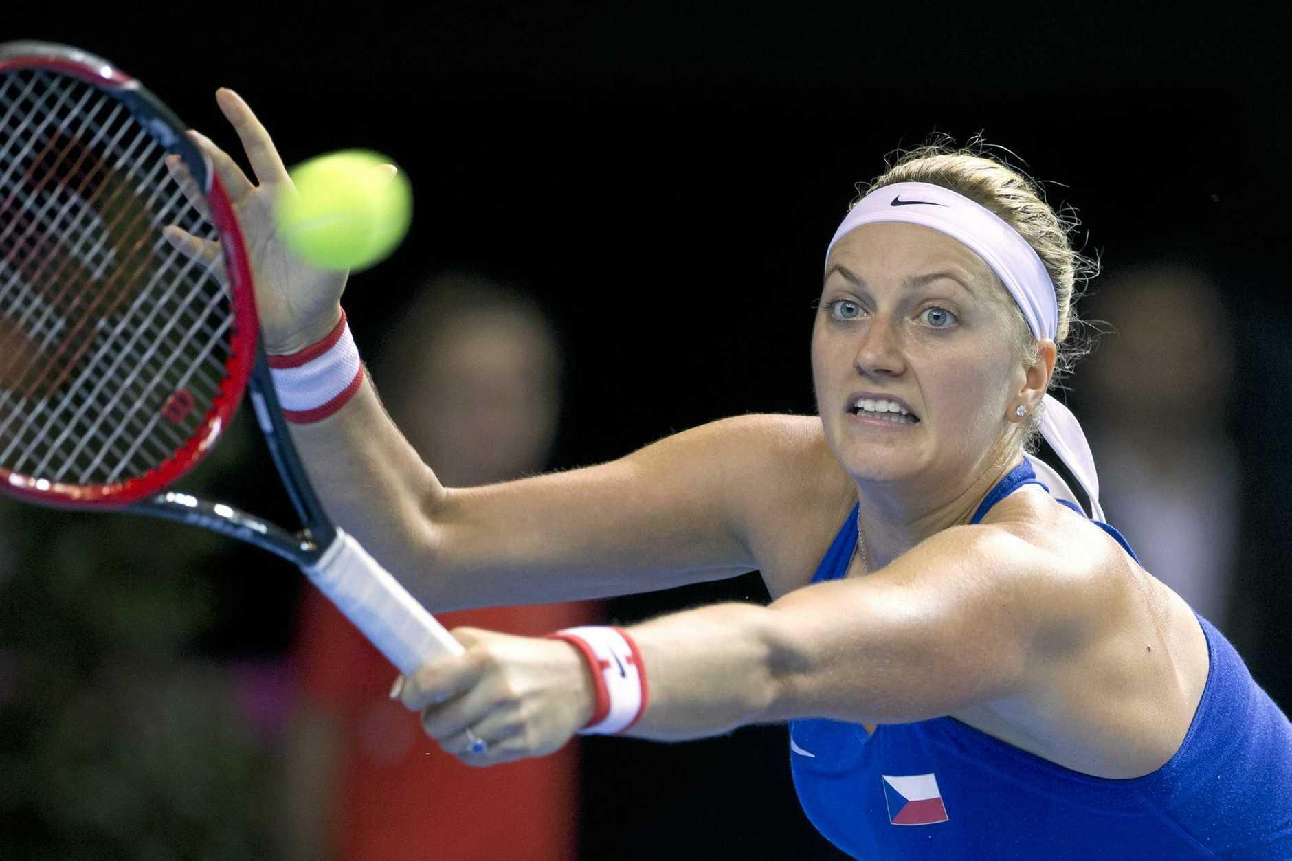 The Czech Republic's Petra Kvitova hits a return.