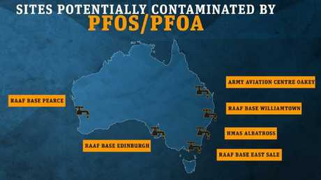 Sites around Australia contaminated by PFOS and PFOA.Source:Supplied