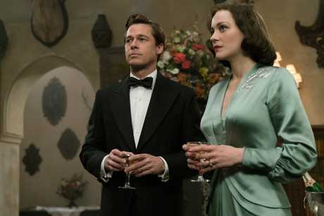 Brad Pitt and Marion Cotillard in a scene from the movie Allied.