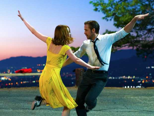 FOR REVIEW AND PREVIEW PURPOSES ONLY. Emma Stone and Ryan Gosling in a scene from the movie La La Land. Supplied by Entertainment One Films.