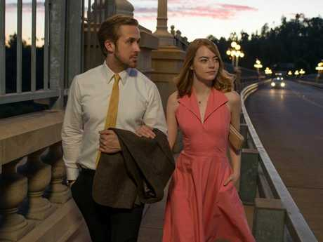 FOR REVIEW AND PREVIEW PURPOSES ONLY. Ryan Gosling and Emma Stone in a scene from the movie La La Land. Supplied by Entertainment One Films.