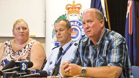 FAMILY PLEA: ( From left ) Tanya McCulkin, Endeavour Foundation, Acting Snr Sgt Jeremy Sheldrick and Dean Anderson. Press conference regarding search for missing Toowoomba man Paul Anderson. Friday Dec 23, 2016.