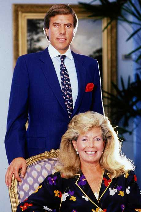 Christopher Skase, CEO of Qintex with wife Pixie in company's office in Brisbane, April 15, 1986.