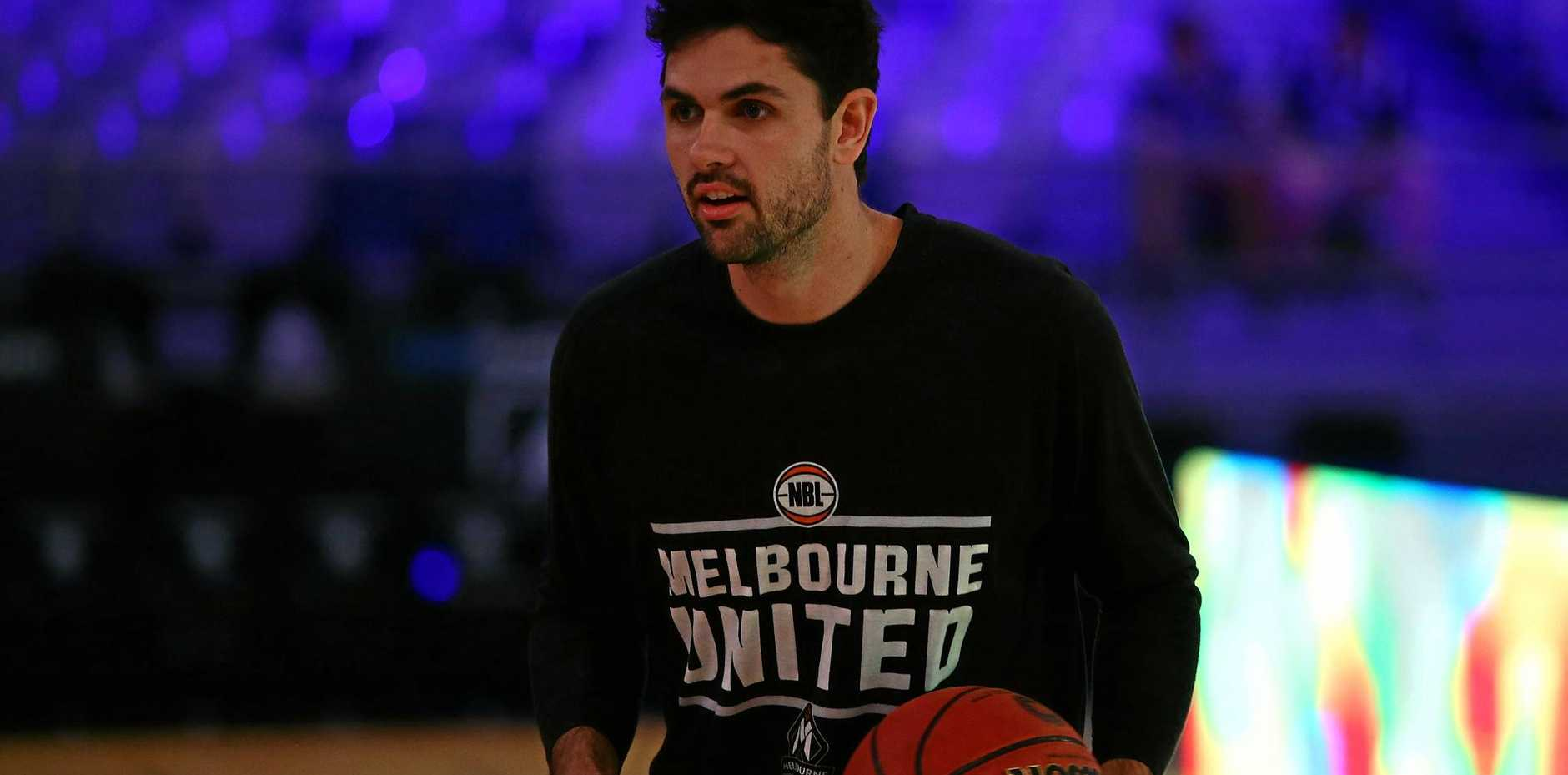 Todd Blanchfield of Melbourne United during a warm-up.