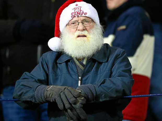Santa watching West Brom play Swansea at the Hawthorns.