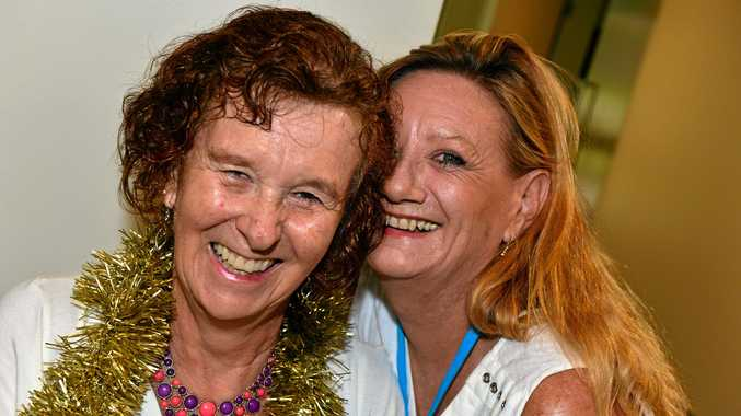 COOLUM HEARTS: Pat Isaacs and Alison Kendall enjoy Christmas lunch together.