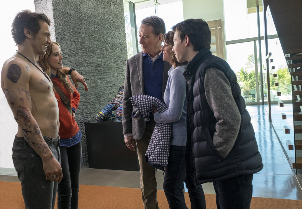 FOR REVIEW AND PREVIEW PURPOSES ONLY. James Franco, Zoey Deutch, Bryan Cranston, Megan Mullally and Griffin Gluck in a scene from the movie Why Him? Supplied by Twentieth Century Fox.