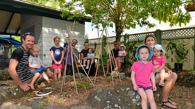 HAPPY DAYS: Families are happy that the North Buderim Early Childhood Centre will stay open. Pictured are Shaun Lauder with Zan, 2, Anika Fraser, Gavin Shepherd and Eliah, 1, Kirbie Frearson with Marlee, 18 months, Paul Fraser with Natasha, 3, and Melissa Pietrala with Claudia, 4 and Elka, 20 months.
