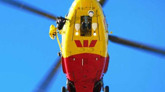 The Westpac Life Saver Rescue Helicopter airlifted a 36-year-old Hastings Point man to hospital after he had jumped out of a moving car at Pottsville.
