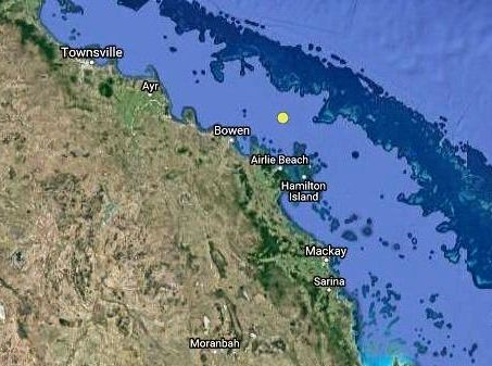 The 2.8 magnitude earthquake recorded off the coast of Bowen early on Christmas morning, 2016 (yellow dot).