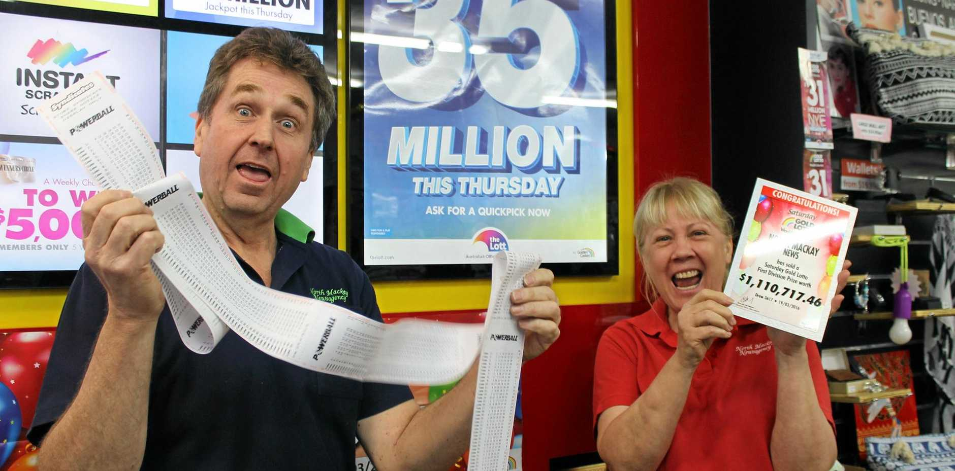 LUCKY: North Mackay News co-owners Mark Faulkner and Mariann Hartup say lotto sales have doubled ahead of this week's massive Lotto jackpots.