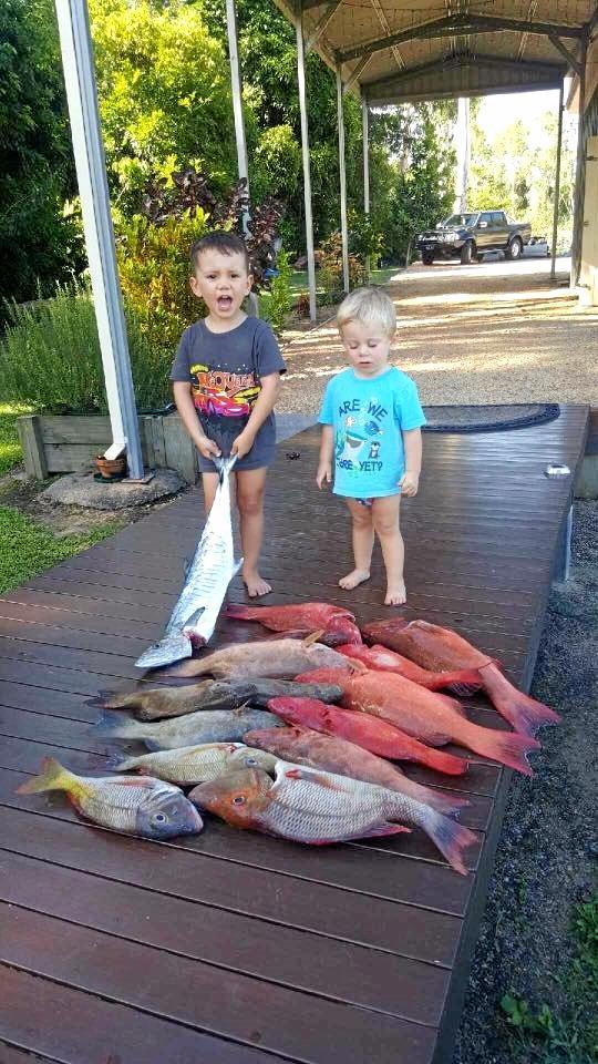 Crixus and Jaxson Lund caught Spanish mackerel, coral trout, red throat emperor at Hinchinbrook Island.