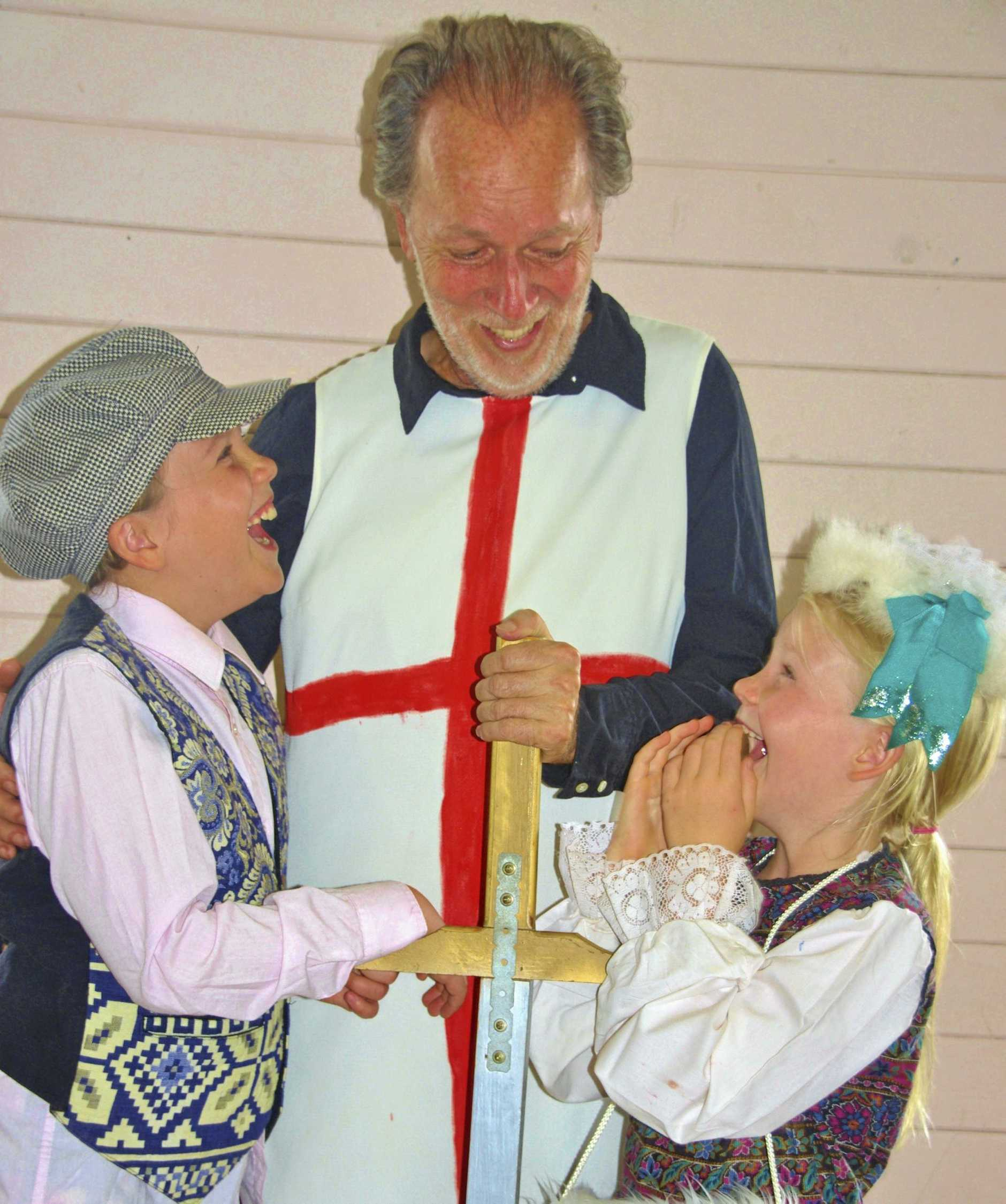 St George promises Olivia and Tim Tim not to hurt Albert, their dragon friend.