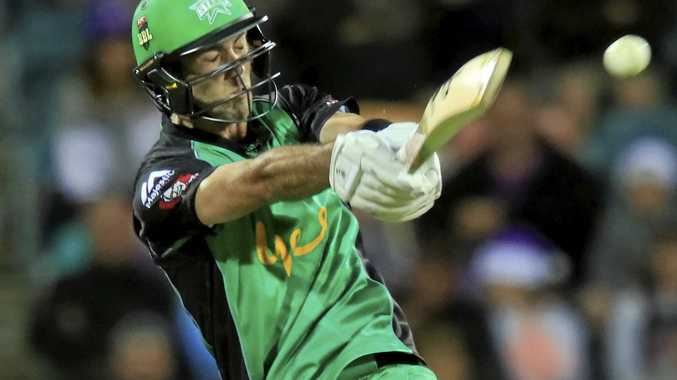Glenn Maxwell of the Stars plays a shot against the Hurricanes.