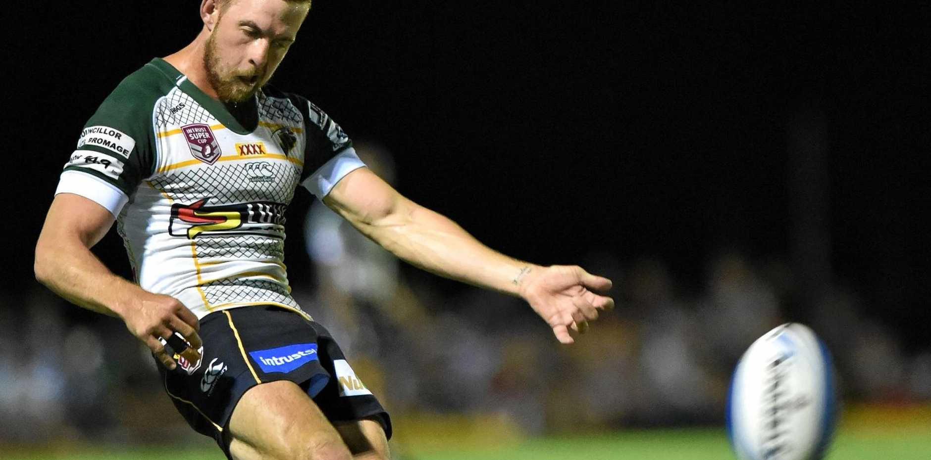 PROMISING: Hayden Lipp bangs the ball downfield for the Ipswich Jets. He has linked with the Sunshine Coast Falcons and is in the running for a ball-playing role.