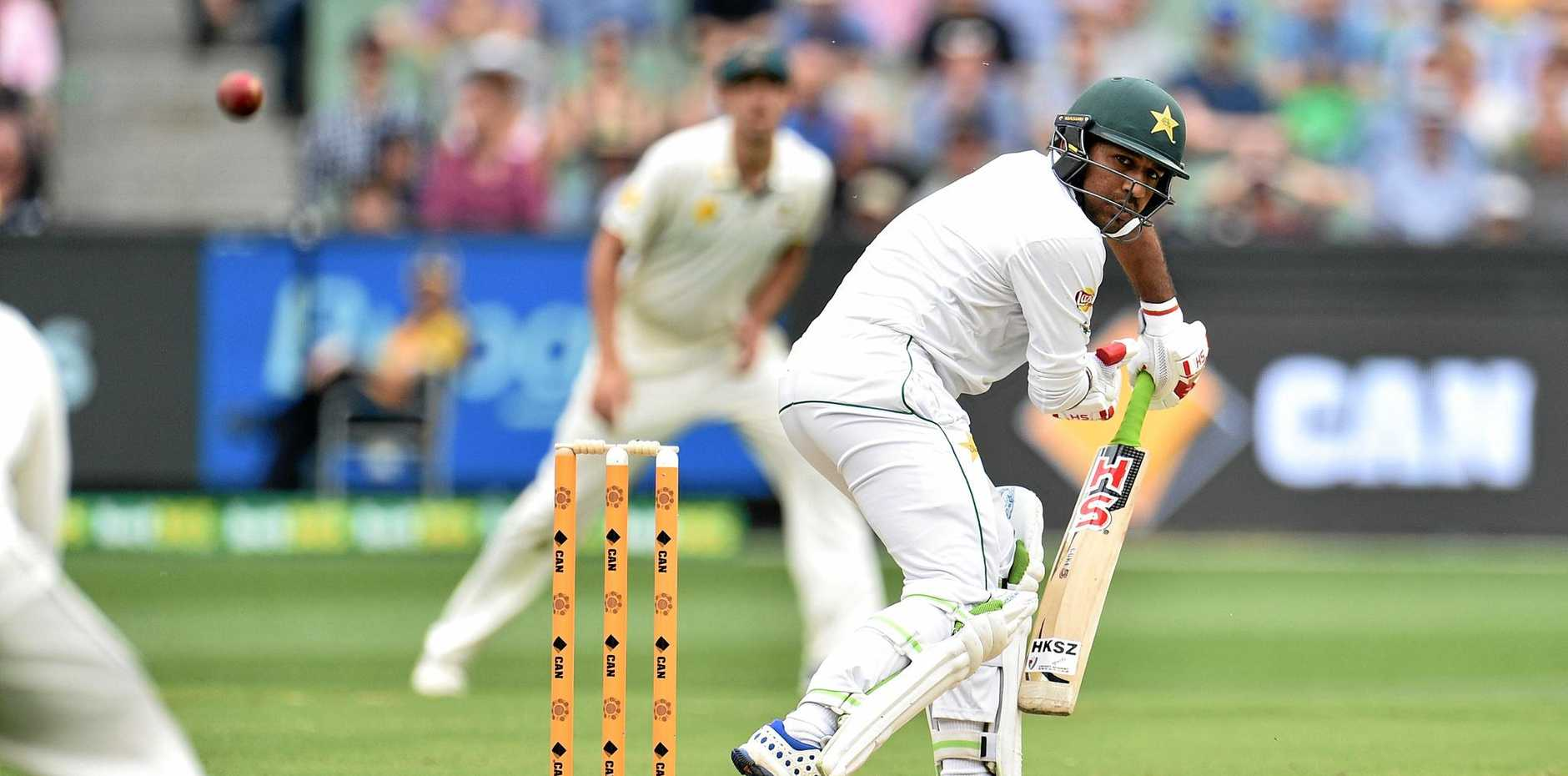 Sarfraz Ahmed of Pakistan watches the ball travel to the slips cordon off the bowling of Australia's Josh Hazlewood during the second Test at the MCG yesterday.